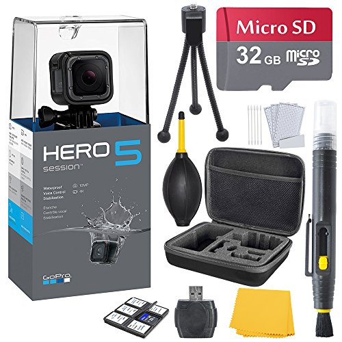 GoPro HERO 5 Session Bundle (7 items) + 32GB Card + Camera Case + Accessory Kit from K&M