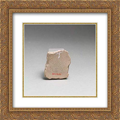 Greek Neolithic Culture - 20x20 Gold Ornate Frame and Double Matted Museum Art Print - Terracotta Vessel Fragment