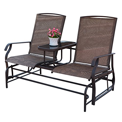 Garden Double Glider (PatioPost Outdoor 2 Person Patio Mesh Fabric Loveseat Glider Chair w/Center Table,JA)