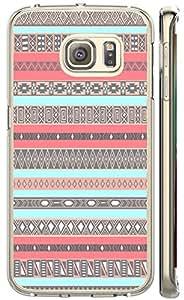 S6 Edge case of TUTU158600 Plastic Phone Case Back Cover Samsung galaxy case S6 Edge - Aztec green and gray stripes