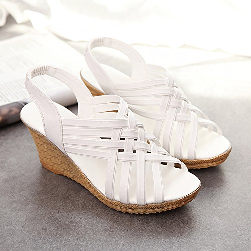 Nevera Women's High Heel Wedges Platforms Strap Criss Cross Cut Outs Sandal Shoes White