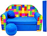 Pro Cosmo C32 Kids Sofa Bed with Pouffe/Footstool/Pillow, Fabric, cotton, Multi-Colour, 168 x 98 x 60 cm