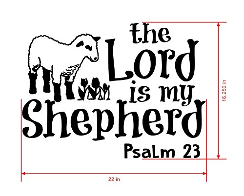 Psalm 23 for Kids Wall Decal is a Vinyl Poster Wall Decor Displaying a The Lord is My Shepherd Bible Quotes Inspirational Wall Art for Women, Men or Children's Room - Green by WallDecalsAndArt (Image #3)