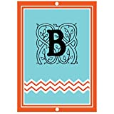''B '' Initial Monogram Personalized Letter B Blue Room Nursery Décor METAL Sign Blue Red