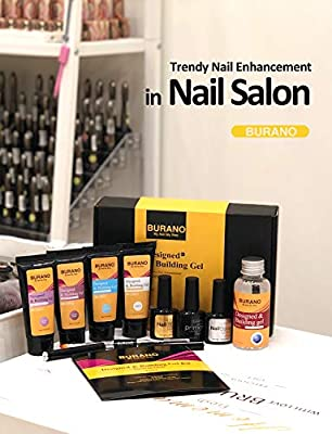 BURANO Nail Extension Gel Kit, Easy Nail Builder Gel kit & Odorless 30ml Nail Gel Trial Kit for Starter, Nail Enhancement for Professional Nail Technician