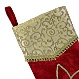 "Valery Madelyn 21"" Red and Gold Christmas Stocking with Traditional Christmas Flower Design,Themed with Tree Skirt(Not Included)"