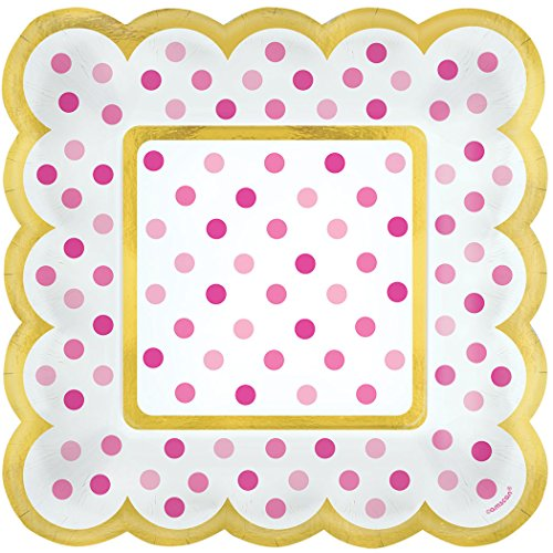 Amscan Party Supplies Mini Paper Scalloped Square Plates-Pink, Multicolor -