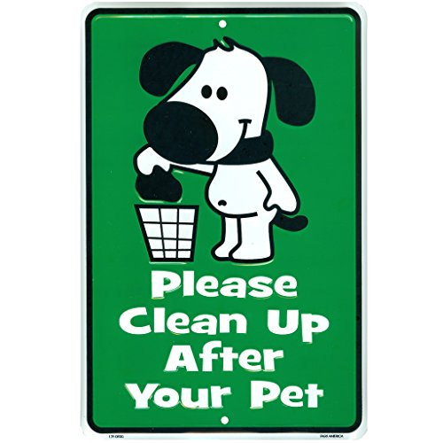 Cute No Dogs Pooping Sign, Please Clean Up After Your Pet, No Dog Poop Metal Yard Signs, 8 inch x 12 inch