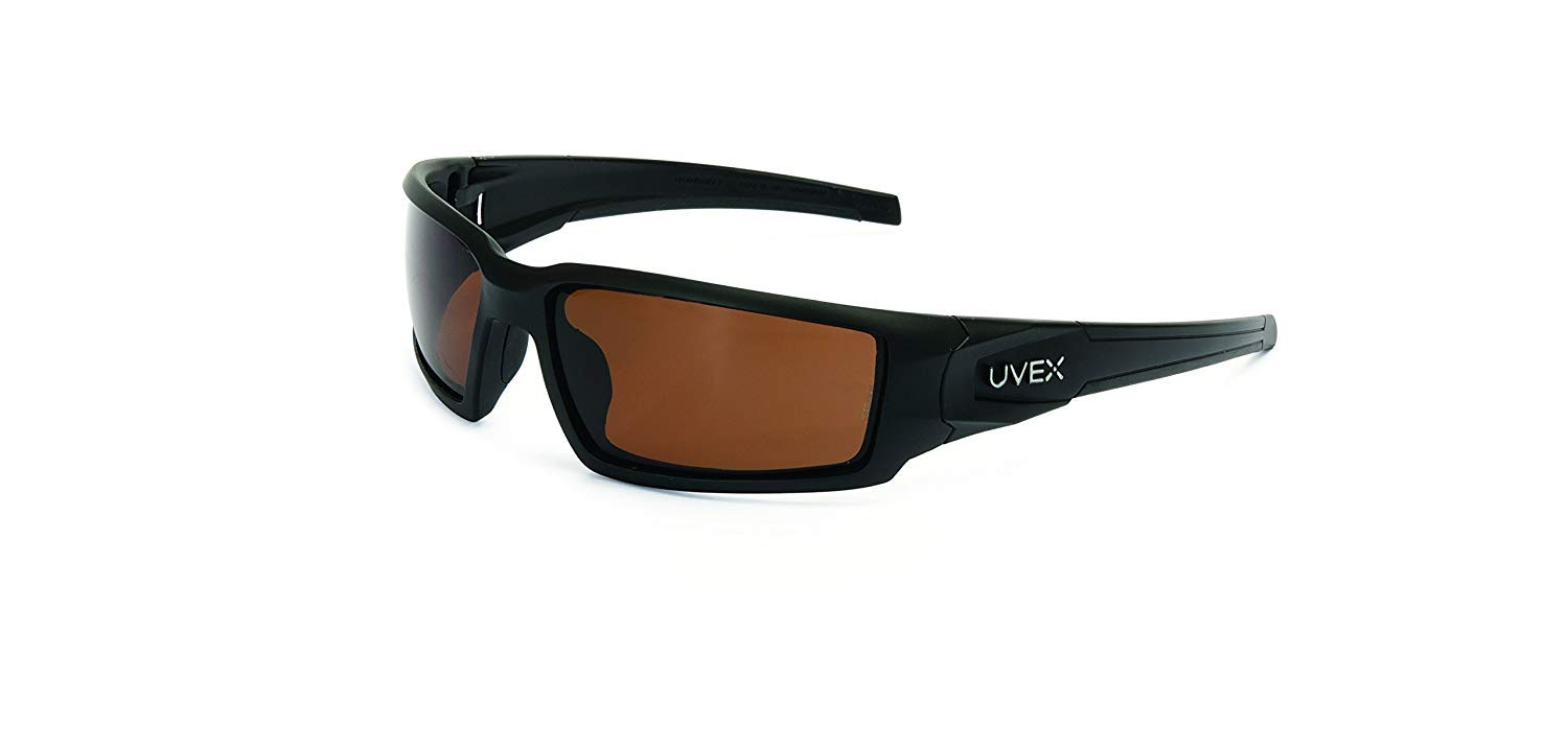 Uvex by Honeywell Hypershock Safety Glasses, Black Fame with Espresso Polarized Lens & Anti-Scratch Hardcoat (S2949)