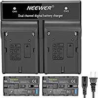 Neewer 2-Pack 6600mAh Replacement Battery with Charger(US Plug)forSony NP-F970 NP-F960 NP-F975 NP-F570 NP- F750 NP-F770, Suitable for Neewer CN160 NW759 74K 760, FW759 74K 760 LED Video Light, Monitor