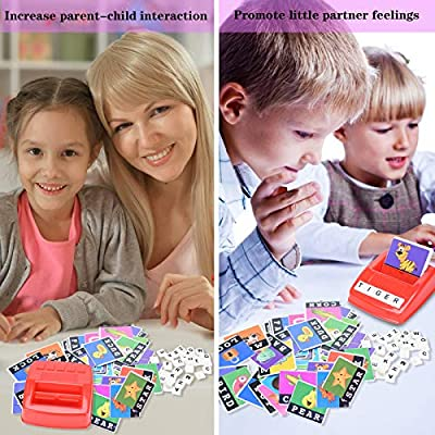 DIYOO Alphabet Letter Word Spelling Game, Spell Words Board Game for Kids Preschoolers Learning Great Educational Play Set Age 0-8 Correcting Reading & Spelling Puzzles with Matching Images: Home & Kitchen