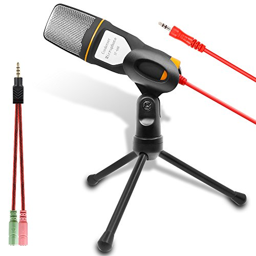 Computer Microphone, External Condenser Microphone for Podcast and Skype Chatting with Adjustable Desktop Tripod Stand, 3.5mm Stereo Plug, Suitable for PC Laptop Notebook (Black and Orange)