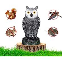 """briteNway Ultimate Scarecrow Owl Decoy Statue By Realistic Fake Owl Outdoor Pest & Bird Deterrent, Hand-Painted Garden Protector, Scares Away Squirrels, Pigeons, Rabbits & More – 10,5"""" Hollow Design"""