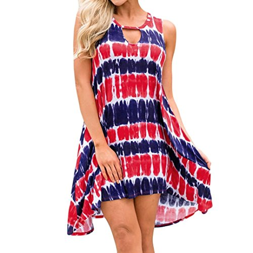 3d116d5efc4 Jaminy Damen Ärmellos Sommerkleid Minikleid Strandkleid Partykleid Rock  Blumen Drucken Kleider Frauen Mode Ärmellos Kleid Sommer