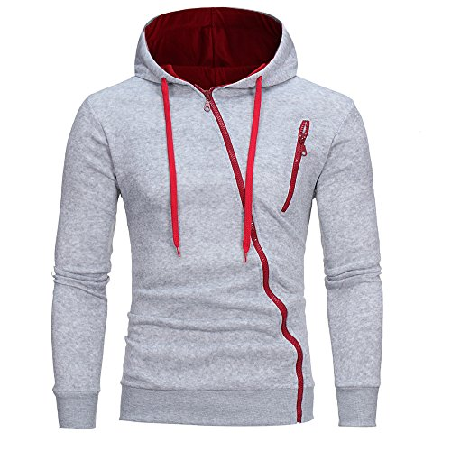 Zackate Mens Fashion Hooded Sweatshirts Drawstring Hoodies with Diagonal Zipper Slim Fif Pullover Gray (Best Selling Football Jersey 2019)
