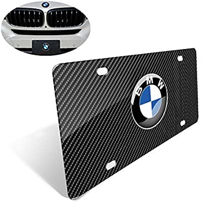 Stainless Steel License Plate with Screw and Caps to Personalize Your BMW License Plate Frame Heavy 3D Carbon Fiber Grain License Plate Cover for BMW
