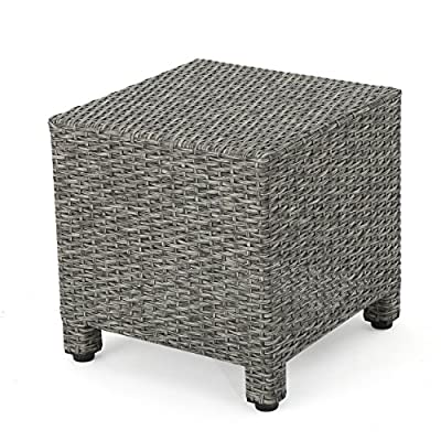 Christopher Knight Home Puerta Outdoor Wicker Side Table, Mixed Black - Keep everything you need for an Afternoon in the sun within arm's reach with this high-quality wicker Coffee Table Manufactured in China Assembly required but completely worth it - patio-tables, patio-furniture, patio - 51LqUgQQGvL. SS400  -