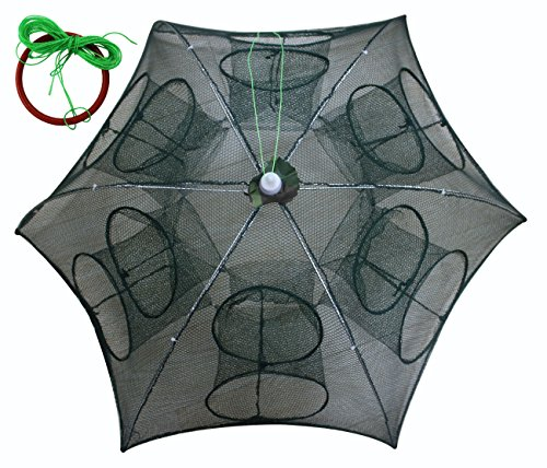 it Cast Mesh Trap Net Portable Fishing Landing Net Shrimp Cage for Fish Lobster Prawn Minnow Crayfish Crab with Hand Rope Floating Circle ()