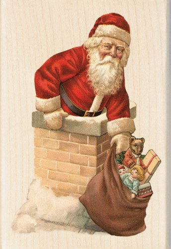 - Inkadinkado Wood Stamp, Santa Chimney