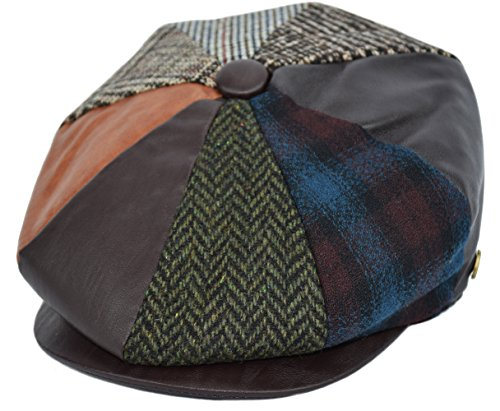 Men's Wool Newsboy Cap, Herringbone Driving Cabbie Tweed Applejack Golf Hat (2322-Patchwork PU, Large)