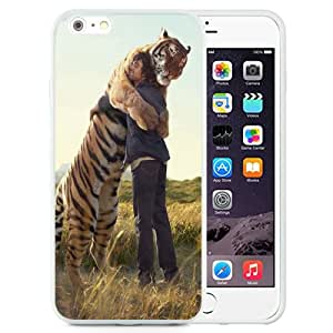 Unique and Attractive TPU Cell Phone Case Design with Man Hugging Siberian Tiger iPhone 6 plus 4.7 inch Wallpaper in White