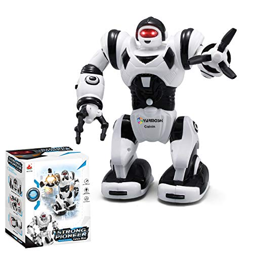 (YARMOSHI Walking Robot Toy - Battery Operated, Flexible Moving Arms, Plays Music with Flashing Eyes. Fun Gift for Boys and Girls, 6x4x8.4 Inches, Age 2+)