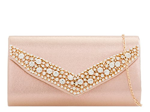 Clutch Glitter Handbag KZ2273 Champagne Women's Ladies Evening Envelope Diamante Metallic Bag EAf0fq