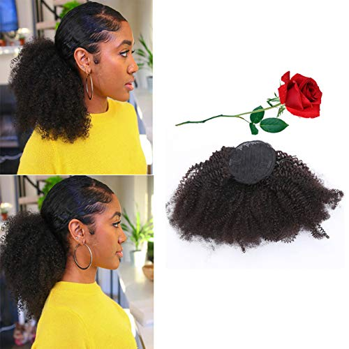 Curly Ponytail Hair Piece 4B 4C Afro Kinky Curly Ponytail For Natural Hair Afro Puff Drawstring Ponytail Remy Human Hair Ponytail For Black Women Natural Black Coily Ponytail Hair Extensions ()