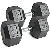 Pair 85 lb Black Rubber Coated Hex Dumbbells Weight Training Set 170 lb Fitness