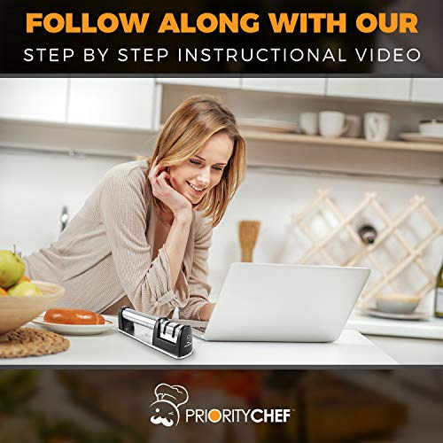 PriorityChef Knife Sharpener for Straight and Serrated Knives, 2-Stage Diamond Coated Wheel System, Sharpens Dull Knives Quickly, Safe and Easy to Use by Priority Chef (Image #6)