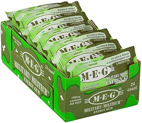 MEG – Military Energy Gum 100mg of Caffeine Per Piece Increase Energy Boost Physical Performance Spearmint 24 Pack 120 Count