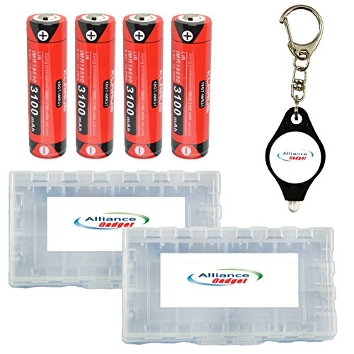 4x Klarus 18GT-IMR31 18650 IMR 3100mAh Lithium Rechargeable Batteries w/2x Battery Boxes, Keychain Light by Klarus