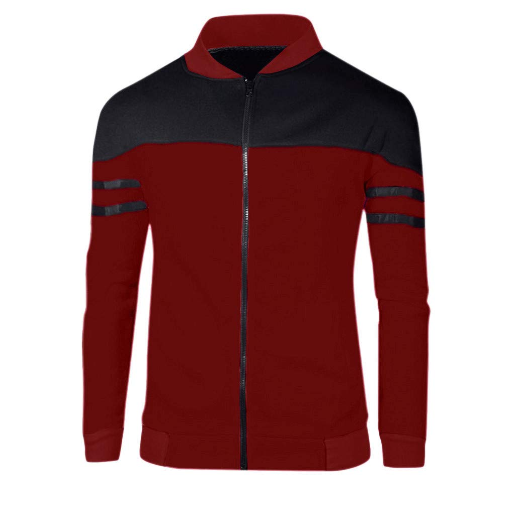 FANSHONN Mens Autumn Winter Full Zip Sportswear Patchwork Stripe Jacket Long Sleeve Casual Coat