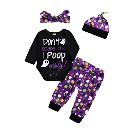 Jchen(TM) Halloween Costume Newborn Infant Baby Boys Girls Long Sleeve Letter Print Romper Halloween Print Pants Hat Headband 4 PCS Outfits for 0-24 Months (Age: 12-18 Months) ()