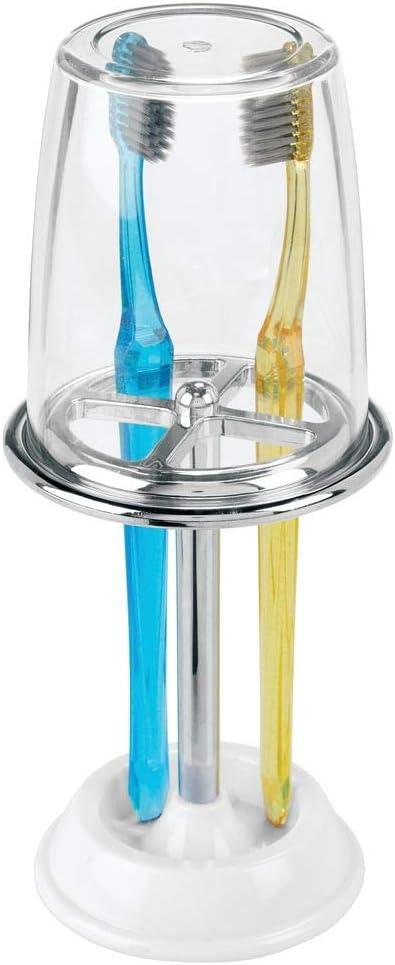 mDesign Organizador de cepillos de dientes decorativo con vaso ...