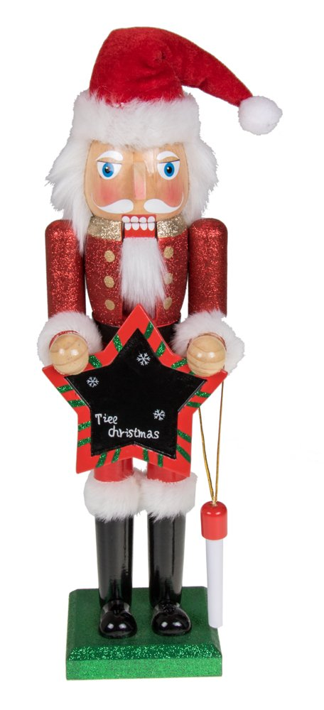 Clever Creations Traditional Christmas Wooden Santa Claus Blackboard Nutcracker Red and White Outfit Deisgn with Chalk and Black Chalkboard | 15'' Tall Perfect for Shelves and Tables