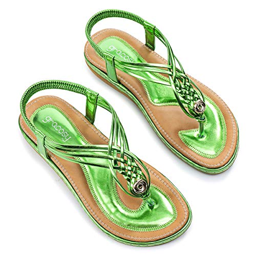 gracosy Women Summer Flat Sandals Slingback Ankle Strap Sandals Clip Toe Beach Walking Flip Flops Bohemian Braided Dress Shoes Metallic Green 7.5 M US