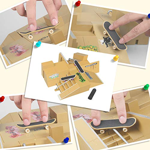 TIME4DEALS Finger Skateboard Park 8pcs Skate Park Kit Ramp Parts, Mini Fingerboard Rails Starter Kit with 3 fingerboards & 5 Silicone Mat Set by TIME4DEALS (Image #5)