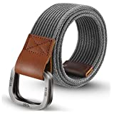 ITIEZY Men's Military Canvas Webbing Belt, Double D Ring Buckle Casual Outdoor Golf