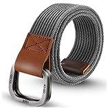 ITIEZY Men's Canvas Belt Military Style Double D-Ring Buckle Casual Webbing Belt