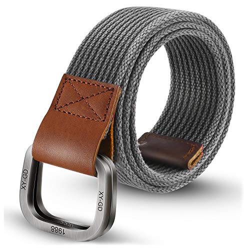 ITIEZY Men's Canvas Belt Military Style Double D-Ring Buckle Casual Webbing Belt