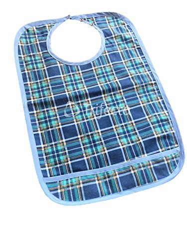 1 pack - Adult Bib w/ Pocket, Reusable Machine Washable, Clothing, Mealtime Protector, Waterproof