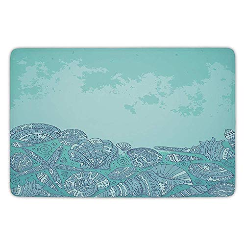 - Bathroom Bath Rug Kitchen Floor Mat Carpet,Nautical,Marine Beauty Shell with Seahorse Starfish Oysters Ocean Sea Tropical Image Decorative,Turquoise Teal,Flannel Microfiber Non-slip Soft Absorbent