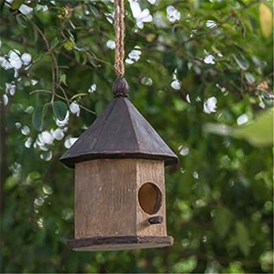 Ofgcfbvxd-Garden Casa del pájaro del jardín Artes y Manualidades Retro Decoración al Aire Libre Opción for niños Casas de Campo Casa de pájaros Casa de pájaros de Madera al Aire Libre for