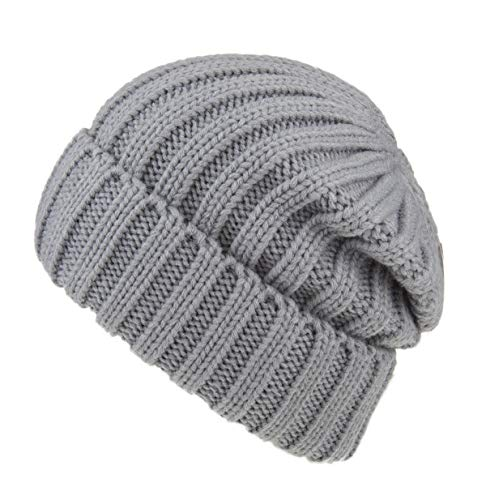 (Spikerking Womens Winter Headwear Thick Soft Cable Knit Beanie Hats,Light Gray)