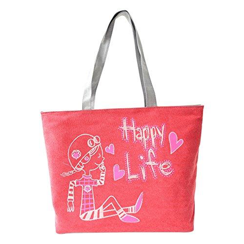 Hrph Cartable Sac d'Ecole Lapin Charmante en Toile Sac Portés Epaule pour Filles Femmes Sacs à Main Mignon Mode Sacs de Shopping Rose