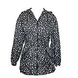 ShedRain Womens Packable Fashion Polka-Dot Print Anorak Rain Jacket, S/M-4/6, Grey and White Polka-Dots