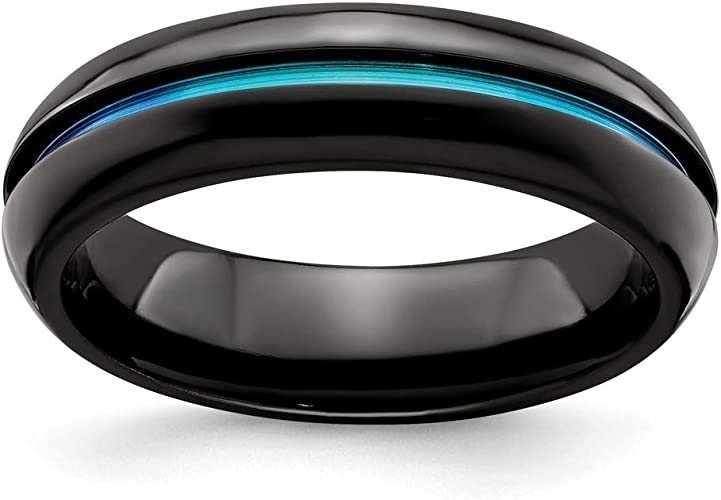 Edward Mirell Black Ti Domed Anodized Teal 6mm Band