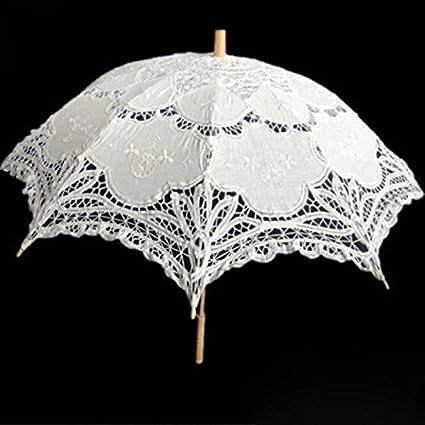 Retro palacio estilo encaje blanca paraguas decoración de boda para las mujeres