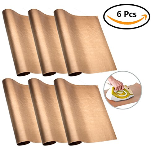 6 Pcs PTFE Teflon Sheet for Heat Press, ABUFF Transfer Sheet Non Stick Heat Resistant Craft Mat,40cm x 60cm (Brown) Non-stick Foils Sheet Perfect for Bakery,Grilling,Ironing Clothes,Stove Burner Cover